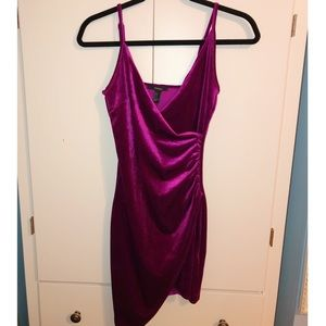 Velvet Magenta Bodycon Dress
